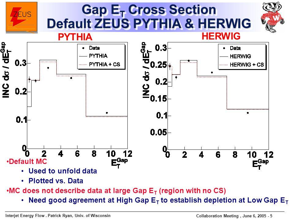 Interjet Energy Flow. Patrick Ryan, Univ. of Wisconsin Collaboration Meeting, June 6, 2005 - 5 Gap E T Cross Section Default ZEUS PYTHIA & HERWIG PYTH