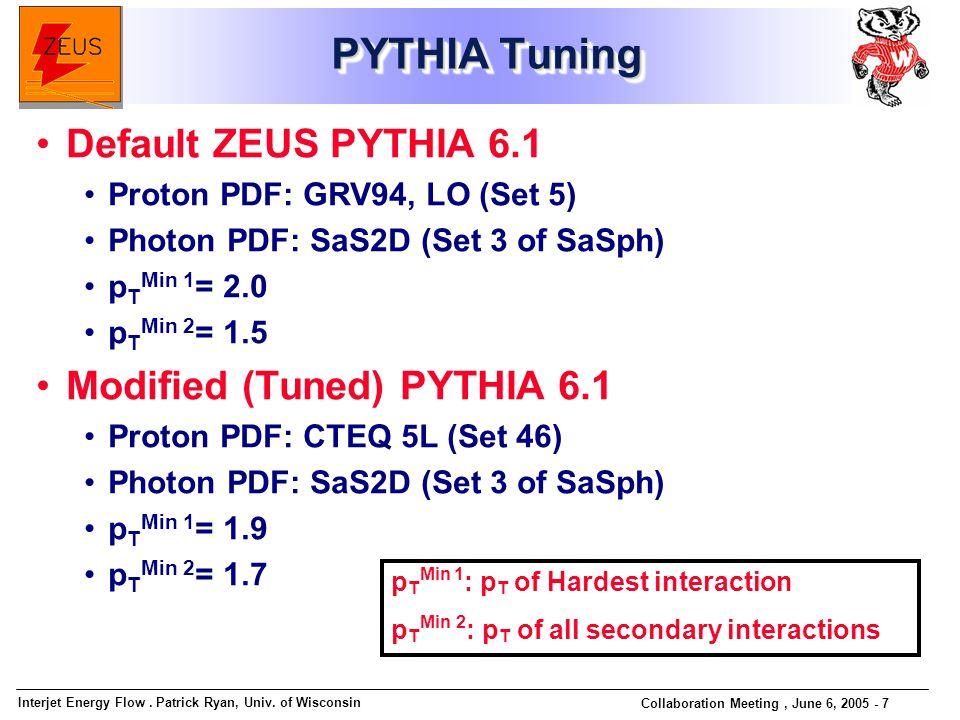 Interjet Energy Flow. Patrick Ryan, Univ. of Wisconsin Collaboration Meeting, June 6, 2005 - 7 PYTHIA Tuning Default ZEUS PYTHIA 6.1 Proton PDF: GRV94