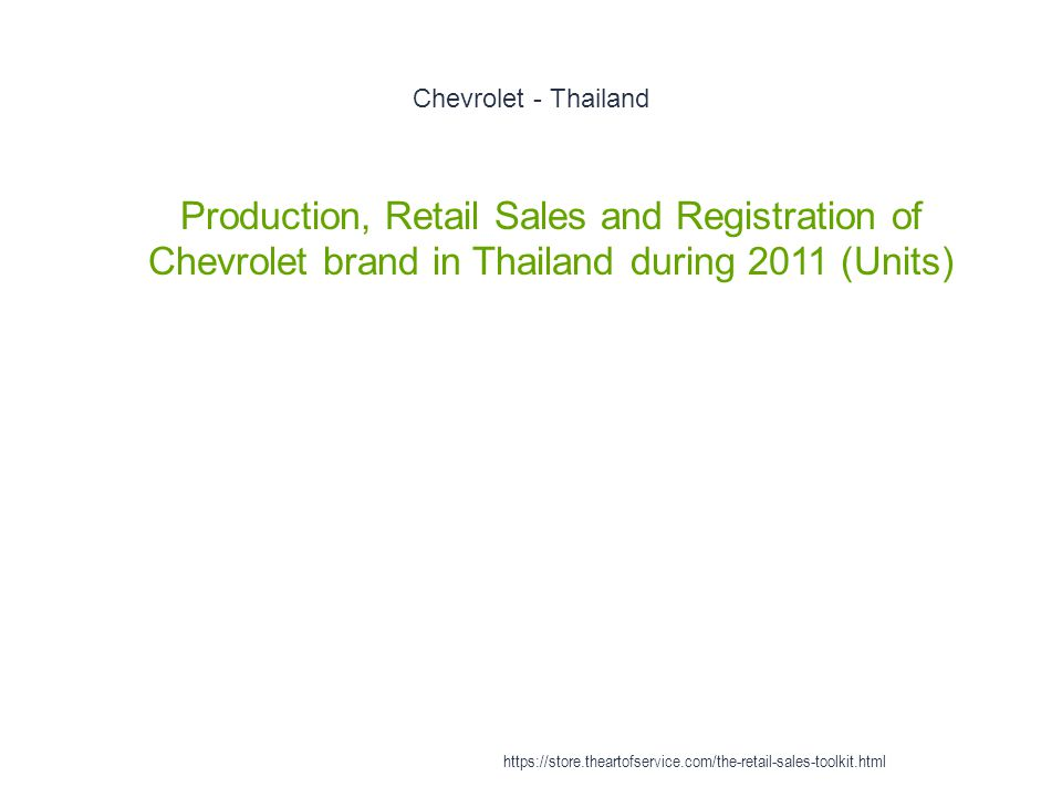 Chevrolet - Thailand 1 Production, Retail Sales and Registration of Chevrolet brand in Thailand during 2011 (Units) https://store.theartofservice.com/
