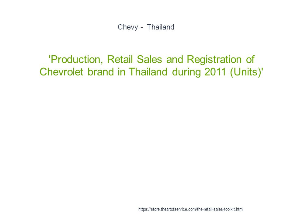 Chevy - Thailand 1 Production, Retail Sales and Registration of Chevrolet brand in Thailand during 2011 (Units) https://store.theartofservice.com/the-retail-sales-toolkit.html