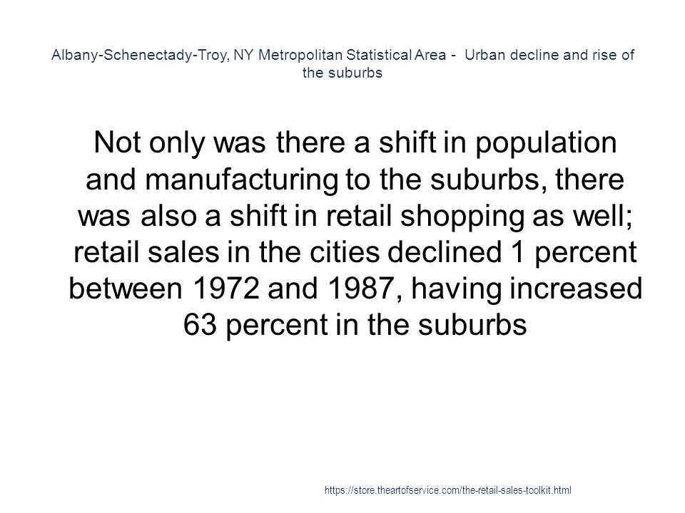 Albany-Schenectady-Troy, NY Metropolitan Statistical Area - Urban decline and rise of the suburbs 1 Not only was there a shift in population and manufacturing to the suburbs, there was also a shift in retail shopping as well; retail sales in the cities declined 1 percent between 1972 and 1987, having increased 63 percent in the suburbs https://store.theartofservice.com/the-retail-sales-toolkit.html