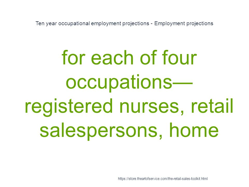 Ten year occupational employment projections - Employment projections 1 for each of four occupations— registered nurses, retail salespersons, home htt