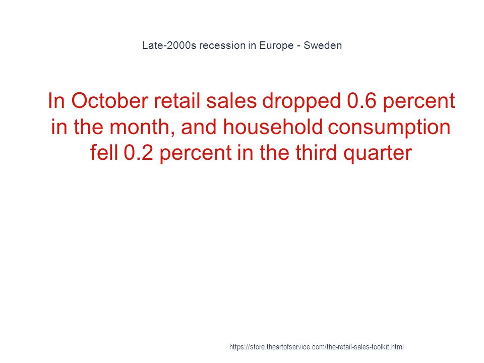 Late-2000s recession in Europe - Sweden 1 In October retail sales dropped 0.6 percent in the month, and household consumption fell 0.2 percent in the