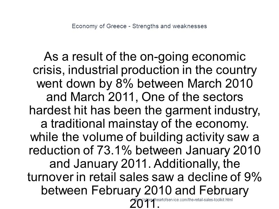 Economy of Greece - Strengths and weaknesses 1 As a result of the on-going economic crisis, industrial production in the country went down by 8% between March 2010 and March 2011, One of the sectors hardest hit has been the garment industry, a traditional mainstay of the economy.