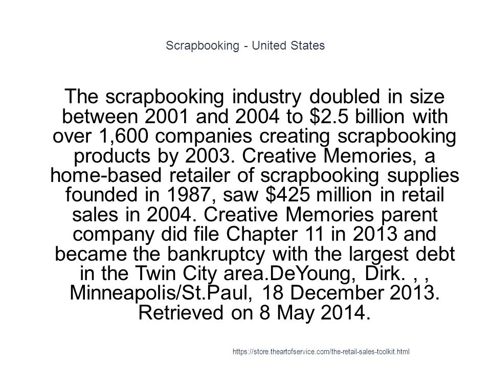 Scrapbooking - United States 1 The scrapbooking industry doubled in size between 2001 and 2004 to $2.5 billion with over 1,600 companies creating scra