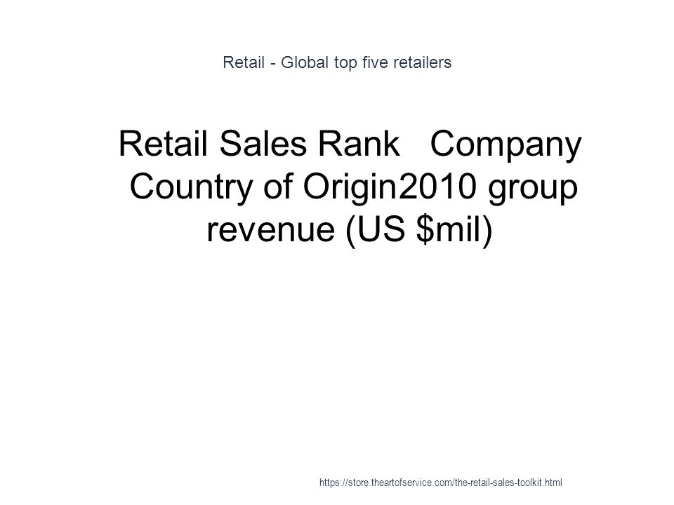 Retail - Global top five retailers 1 Retail Sales RankCompany Country of Origin2010 group revenue (US $mil) https://store.theartofservice.com/the-reta