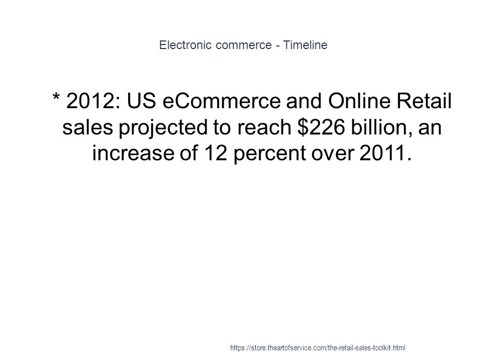 Electronic commerce - Timeline 1 * 2012: US eCommerce and Online Retail sales projected to reach $226 billion, an increase of 12 percent over 2011. ht