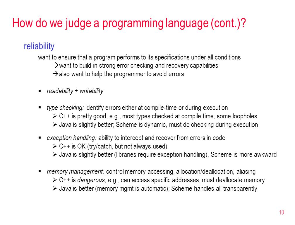 10 How do we judge a programming language (cont.).