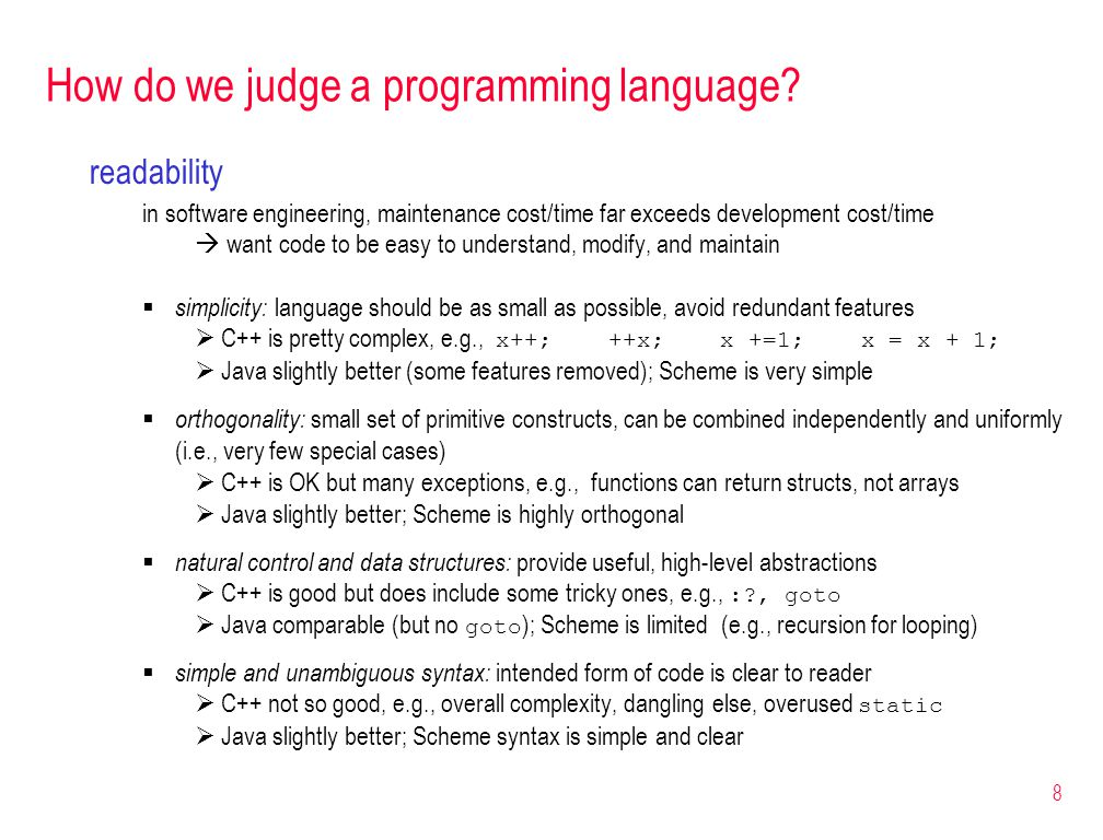 8 How do we judge a programming language.