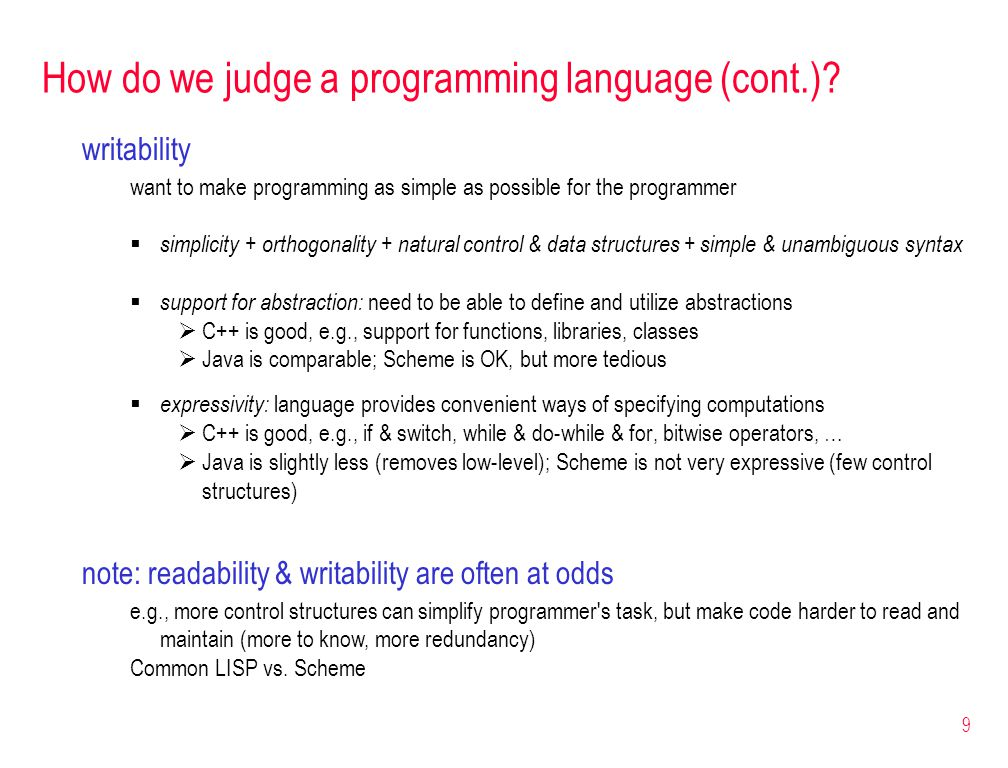 9 How do we judge a programming language (cont.).
