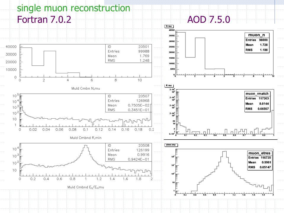single muon reconstruction Fortran 7.0.2 AOD 7.5.0