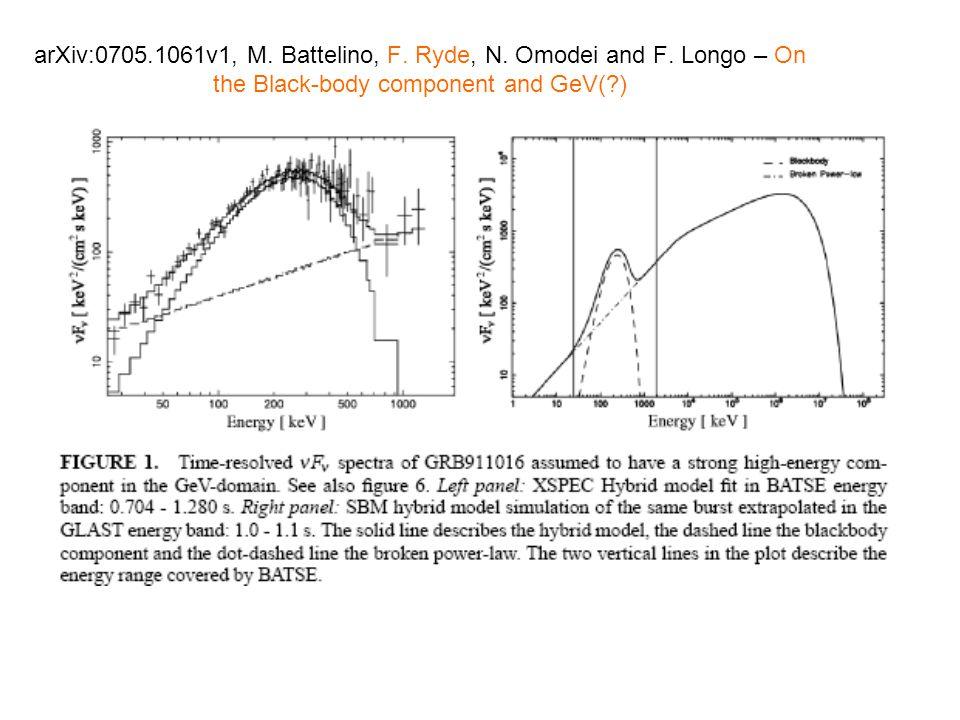 arXiv:0705.1061v1, M. Battelino, F. Ryde, N. Omodei and F.