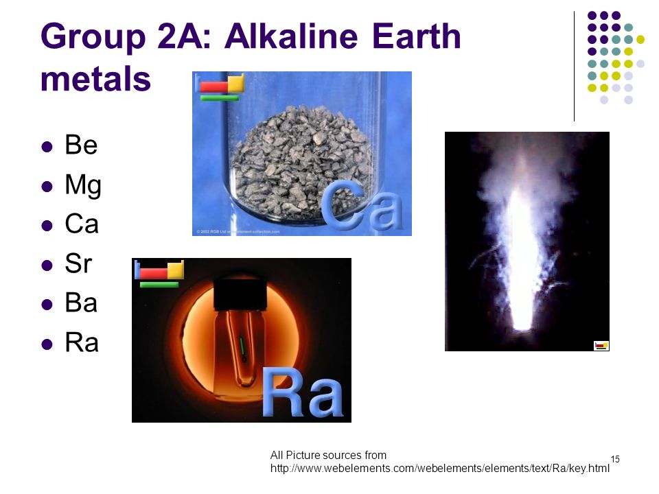 15 Group 2A: Alkaline Earth metals Be Mg Ca Sr Ba Ra All Picture sources from http://www.webelements.com/webelements/elements/text/Ra/key.html