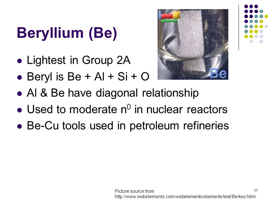 17 Beryllium (Be) Lightest in Group 2A Beryl is Be + Al + Si + O Al & Be have diagonal relationship Used to moderate n 0 in nuclear reactors Be-Cu too