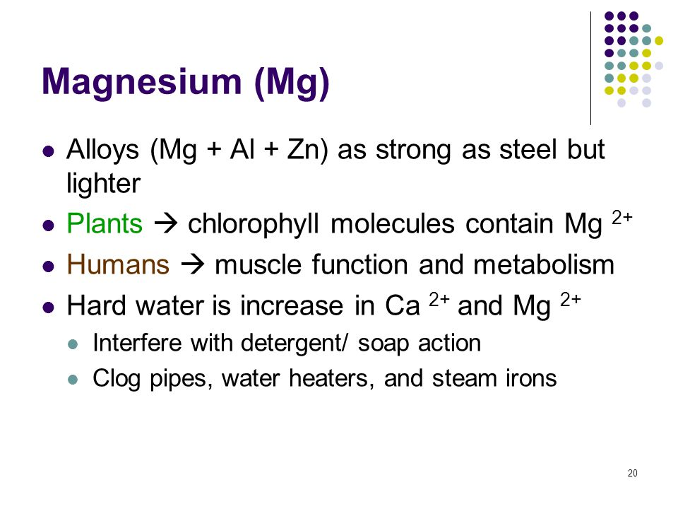 20 Magnesium (Mg) Alloys (Mg + Al + Zn) as strong as steel but lighter Plants  chlorophyll molecules contain Mg 2+ Humans  muscle function and metab
