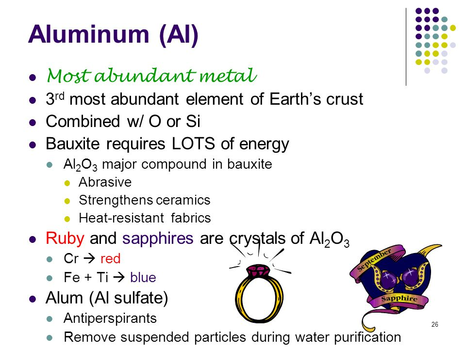 26 Aluminum (Al) Most abundant metal 3 rd most abundant element of Earth's crust Combined w/ O or Si Bauxite requires LOTS of energy Al 2 O 3 major co