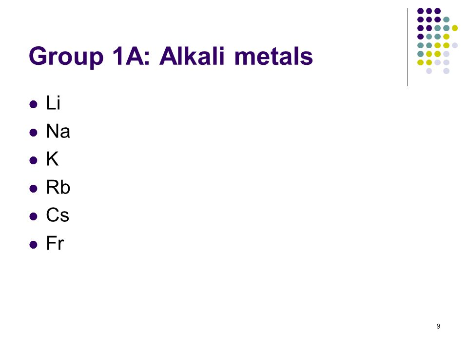 9 Group 1A: Alkali metals Li Na K Rb Cs Fr