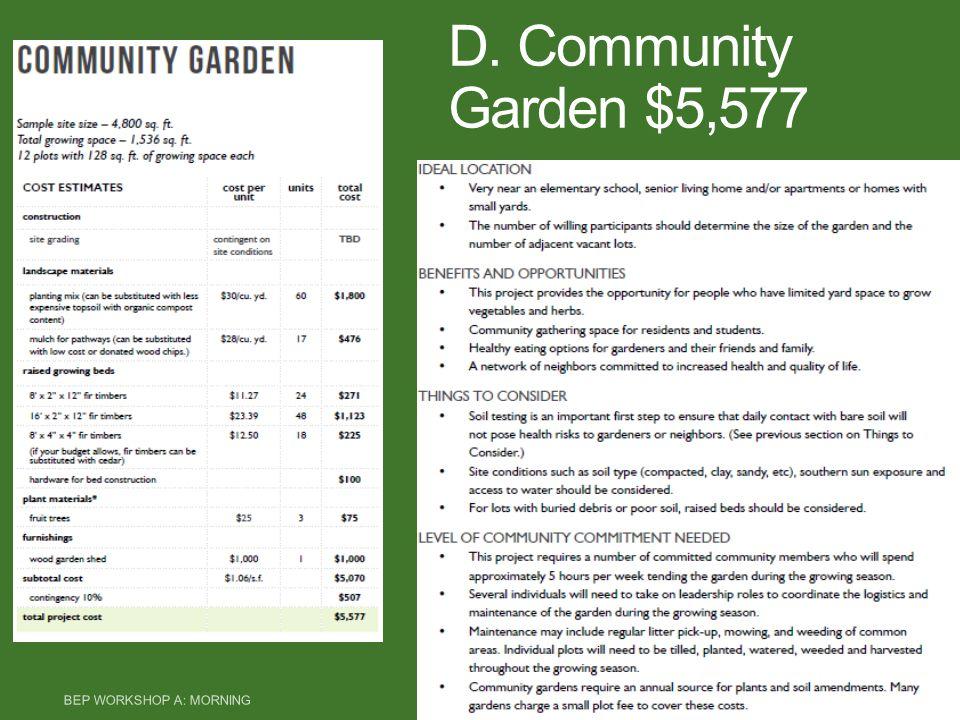 D. Community Garden $5,577 BEP WORKSHOP A: MORNING 15