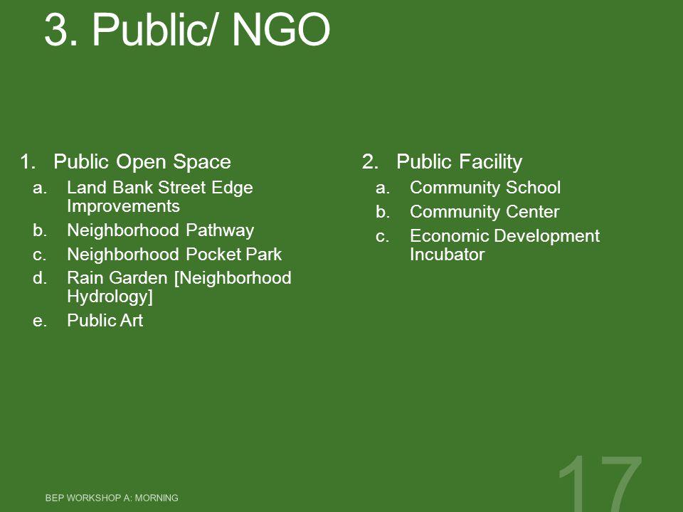 3. Public/ NGO 1.Public Open Space a.Land Bank Street Edge Improvements b.Neighborhood Pathway c.Neighborhood Pocket Park d.Rain Garden [Neighborhood