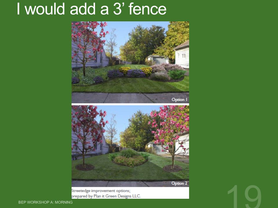 I would add a 3' fence BEP WORKSHOP A: MORNING 19