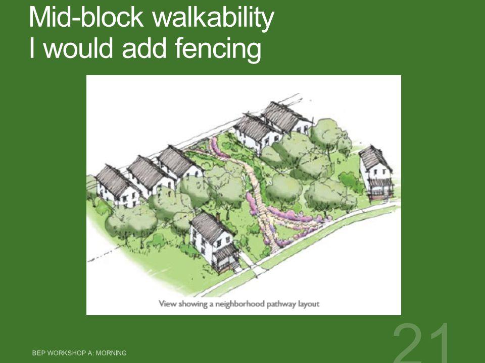 Mid-block walkability I would add fencing BEP WORKSHOP A: MORNING 21