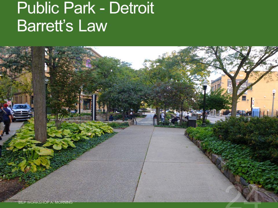 Public Park - Detroit Barrett's Law BEP WORKSHOP A: MORNING 24