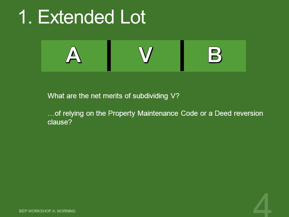 1. Extended Lot BEP WORKSHOP A: MORNING 4 What are the net merits of subdividing V? …of relying on the Property Maintenance Code or a Deed reversion c