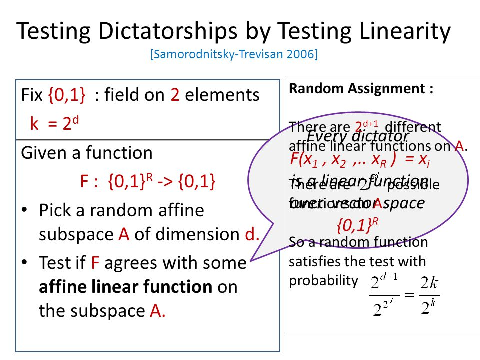 Testing Dictatorships by Testing Linearity [Samorodnitsky-Trevisan 2006] Fix {0,1} : field on 2 elements k = 2 d Given a function F : {0,1} R -> {0,1}