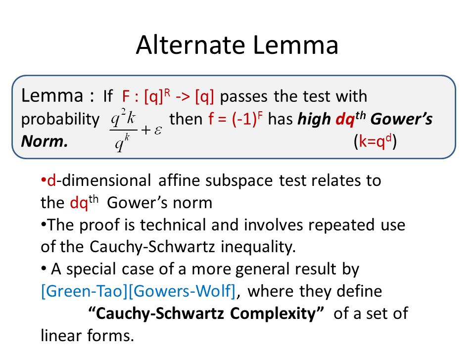 Alternate Lemma Lemma : If F : [q] R -> [q] passes the test with probability then f = (-1) F has high dq th Gower's Norm. (k=q d ) d-dimensional affin