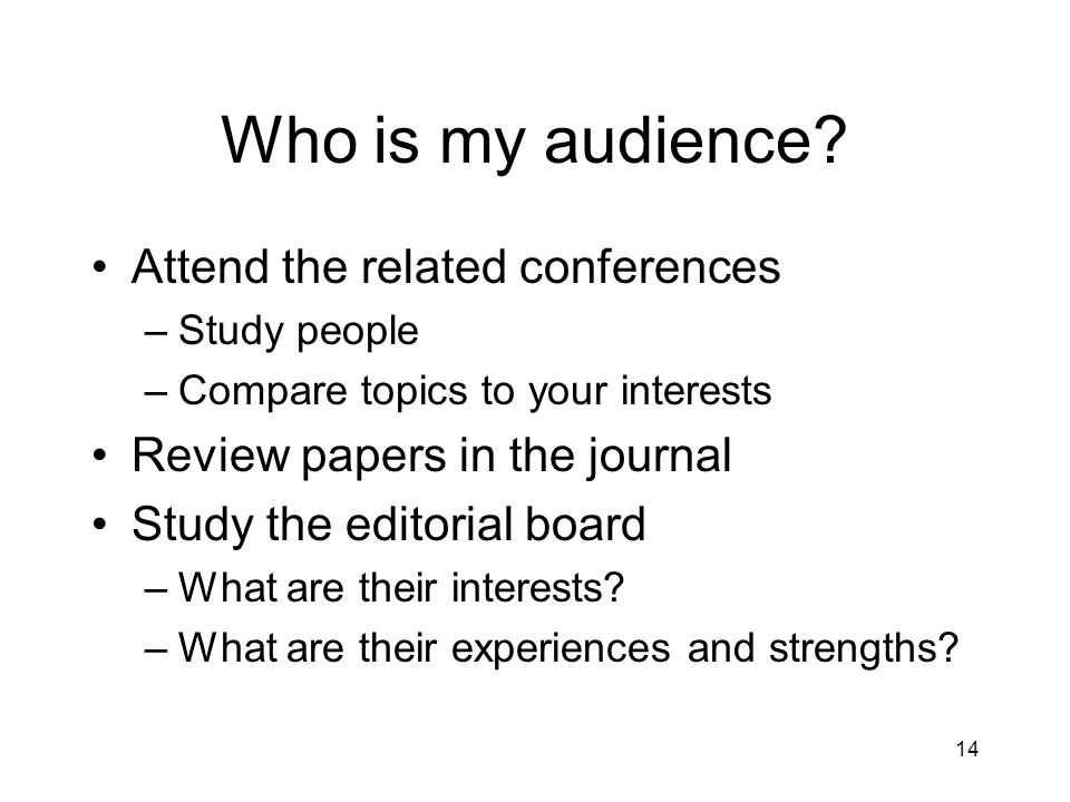 Who is my audience.