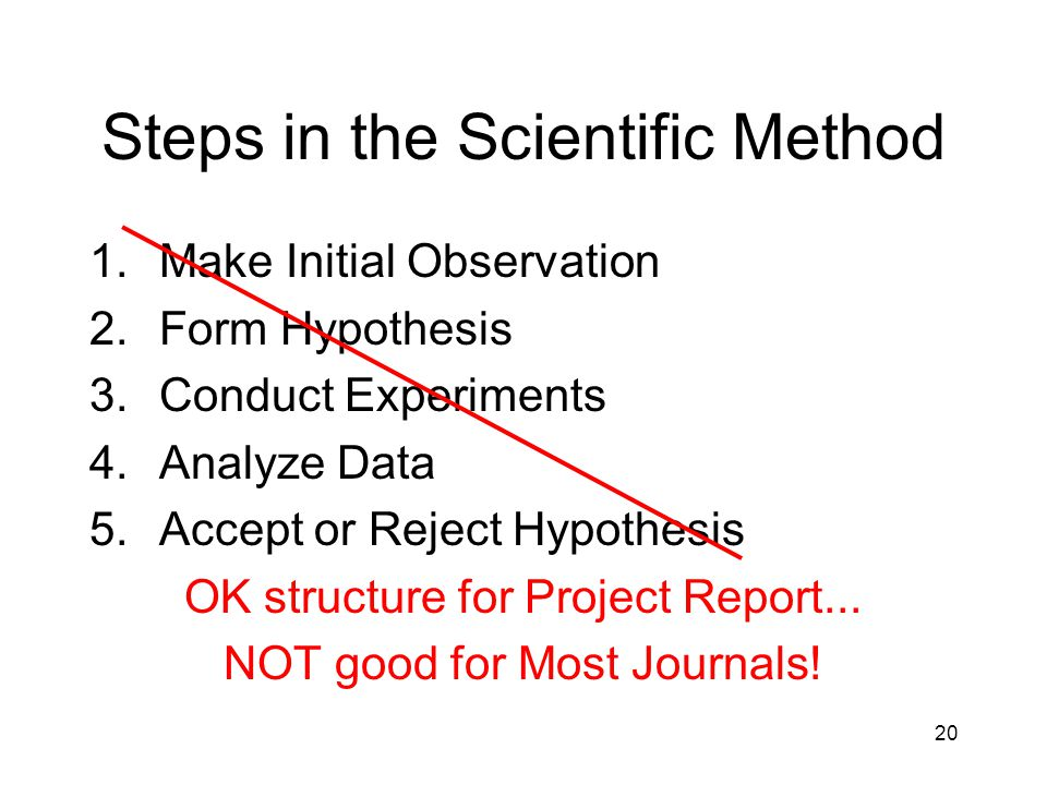 Steps in the Scientific Method 1.Make Initial Observation 2.Form Hypothesis 3.Conduct Experiments 4.Analyze Data 5.Accept or Reject Hypothesis OK structure for Project Report...