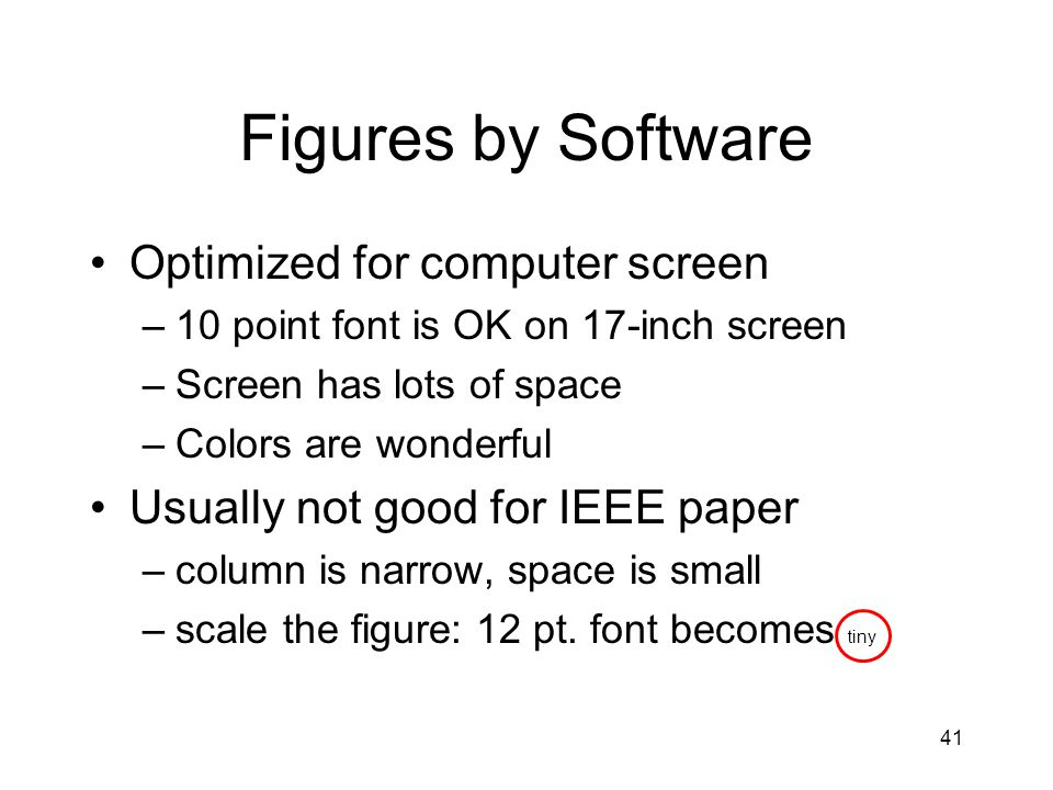 Figures by Software Optimized for computer screen –10 point font is OK on 17-inch screen –Screen has lots of space –Colors are wonderful Usually not good for IEEE paper –column is narrow, space is small –scale the figure: 12 pt.