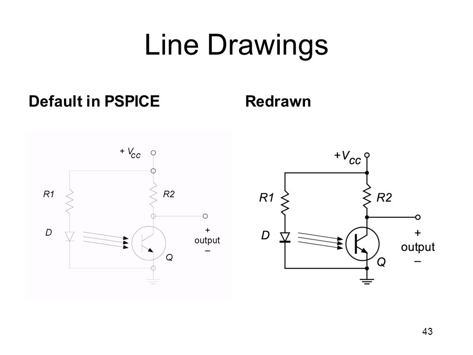 Line Drawings Default in PSPICERedrawn 43