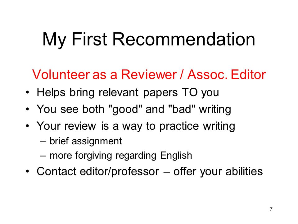 My First Recommendation Volunteer as a Reviewer / Assoc.