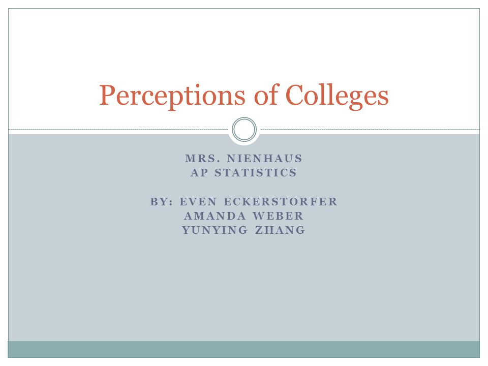 Abstract Set up to find peoples opinions on college admission Than compared them with the actual #'s Options given include what are widely considered the hardest 11 schools to get into in the nation