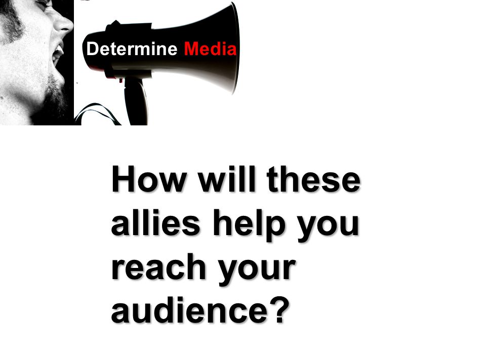 How will these allies help you reach your audience? Determine Media