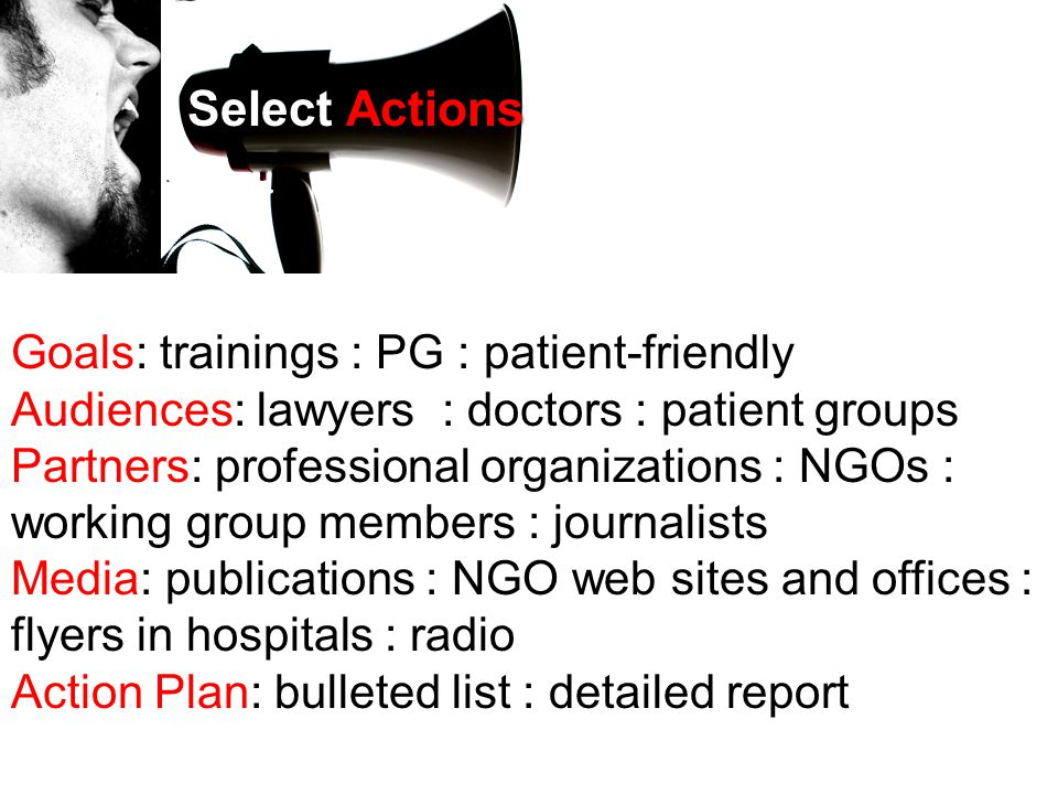 Goals: trainings : PG : patient-friendly Audiences: lawyers : doctors : patient groups Partners: professional organizations : NGOs : working group members : journalists Media: publications : NGO web sites and offices : flyers in hospitals : radio Action Plan: bulleted list : detailed report Select Actions
