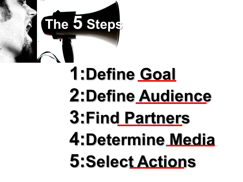 The 5 Steps 1: Define Goal 2: Define Audience 3: Find Partners 4: Determine Media 5: Select Actions