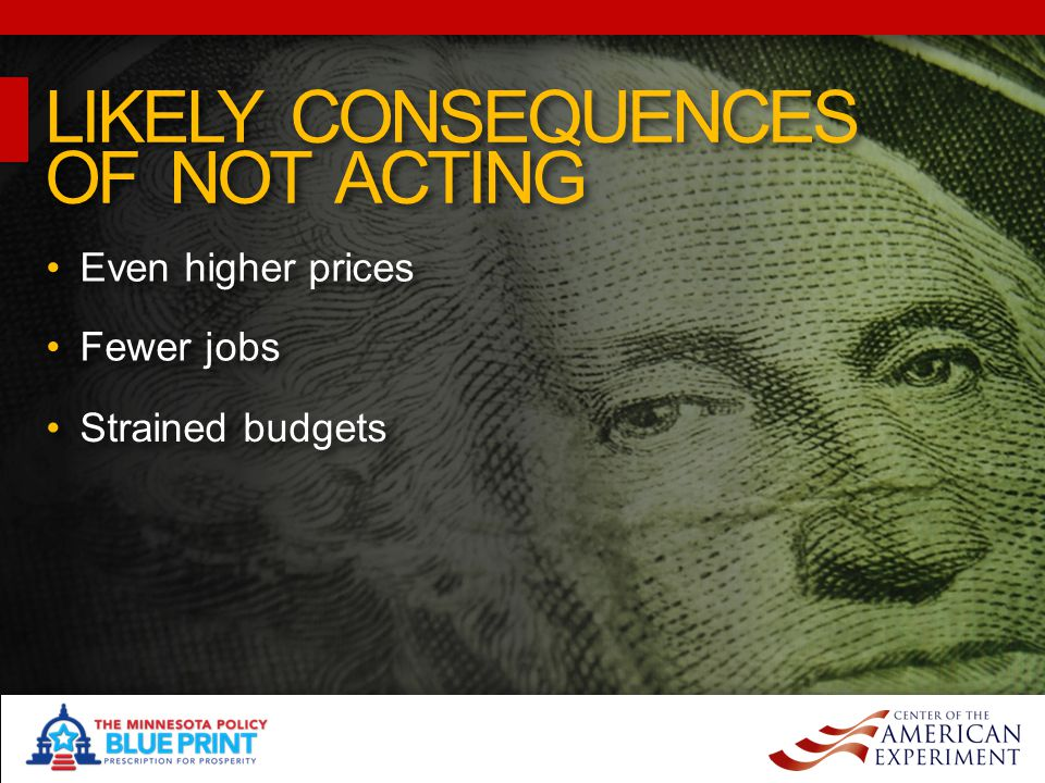 Even higher prices LIKELY CONSEQUENCES OF NOT ACTING LIKELY CONSEQUENCES OF NOT ACTING Fewer jobs Strained budgets