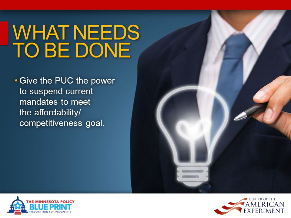 WHAT NEEDS TO BE DONE WHAT NEEDS TO BE DONE Give the PUC the power to suspend current mandates to meet the affordability/ competitiveness goal.