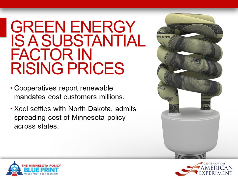 WHAT NEEDS TO BE DONE WHAT NEEDS TO BE DONE Annually report on the total cost of Minnesota's green energy policies and programs.