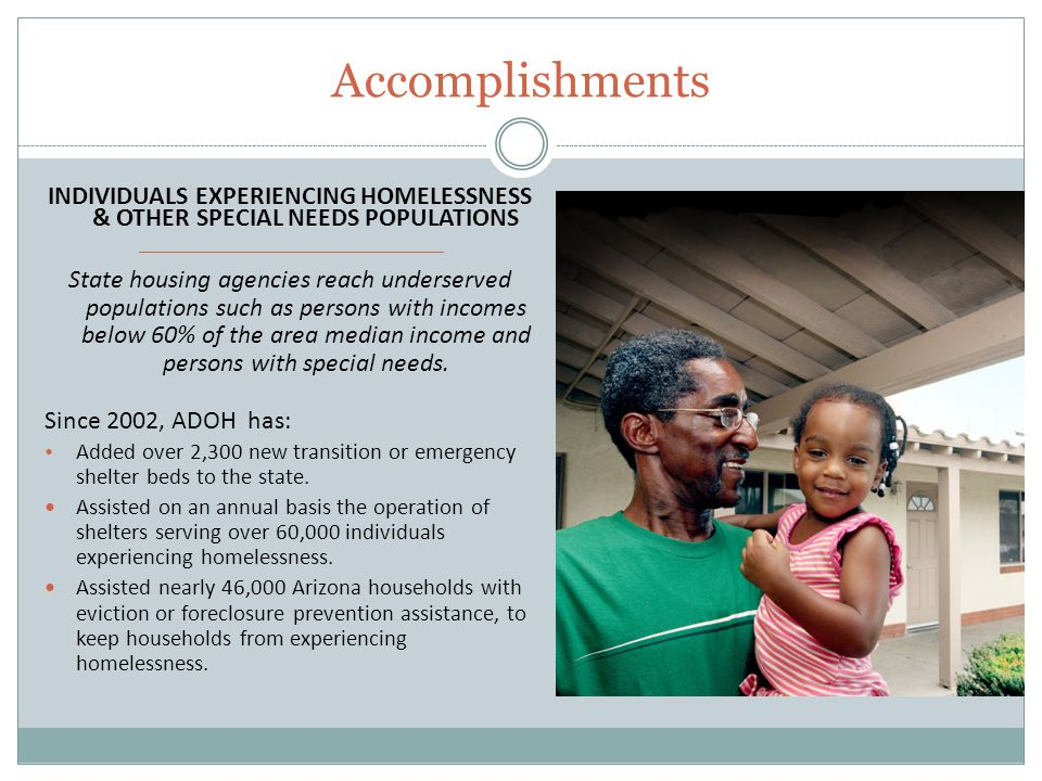 Accomplishments INDIVIDUALS EXPERIENCING HOMELESSNESS & OTHER SPECIAL NEEDS POPULATIONS State housing agencies reach underserved populations such as persons with incomes below 60% of the area median income and persons with special needs.