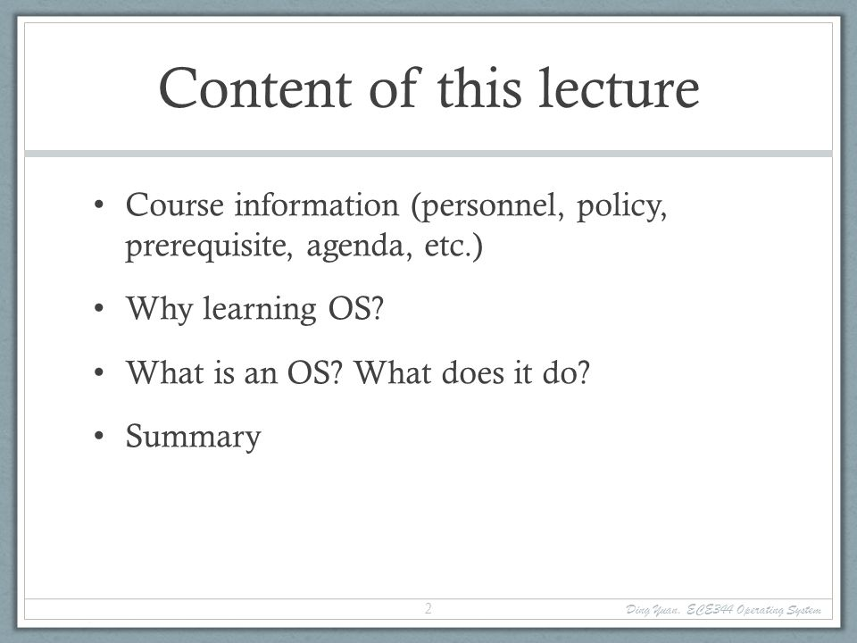 Why learning OS.Fulfill requirement.