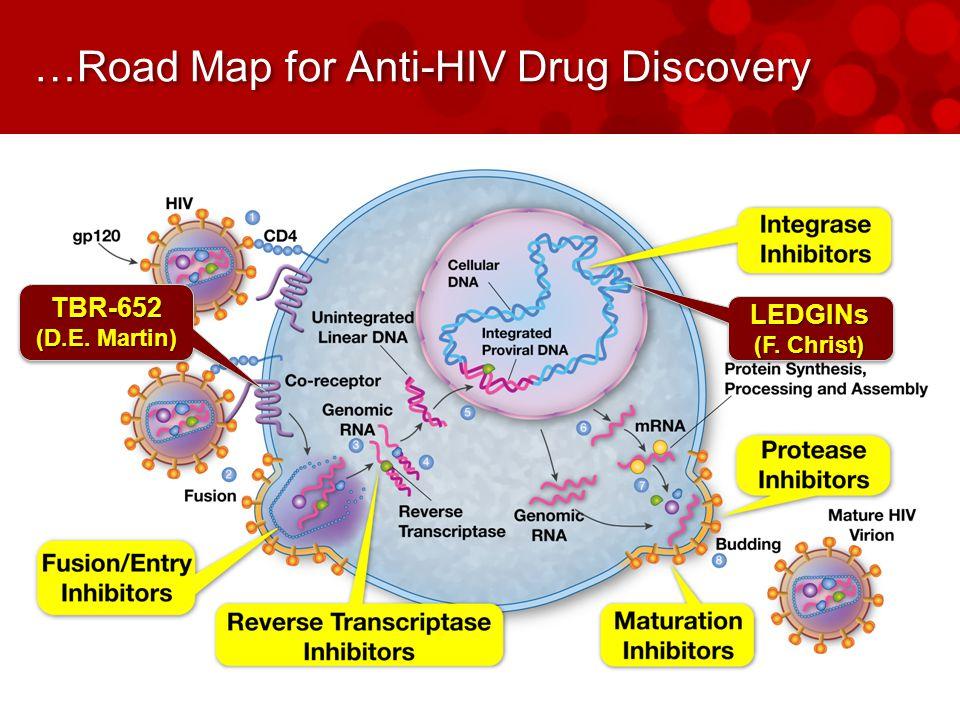…Road Map for Anti-HIV Drug Discovery TBR-652 (D.E. Martin) TBR-652 LEDGINs (F. Christ) LEDGINs