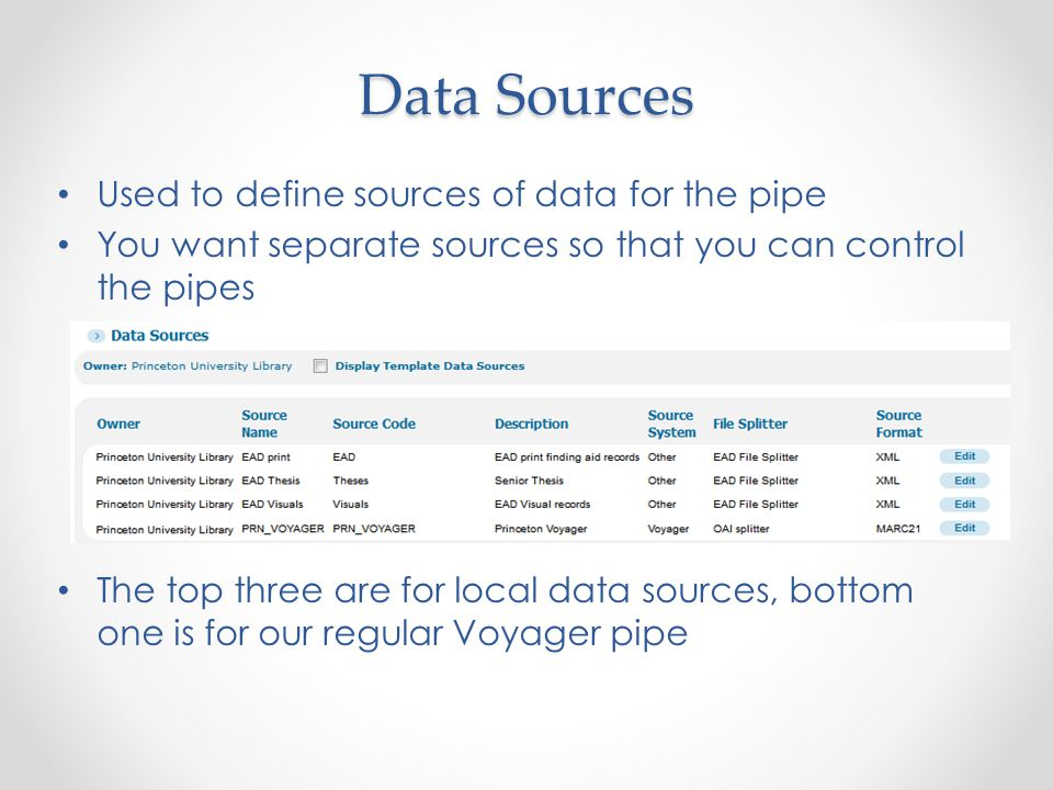 Data Sources Used to define sources of data for the pipe You want separate sources so that you can control the pipes The top three are for local data sources, bottom one is for our regular Voyager pipe