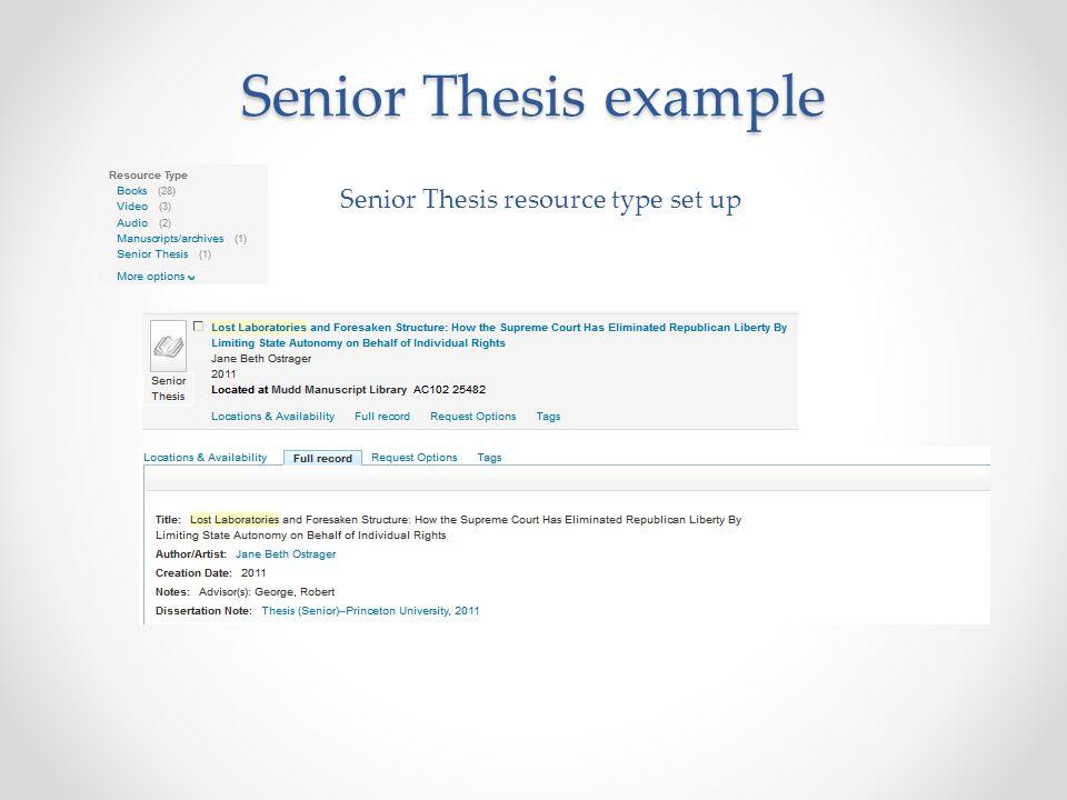 Senior Thesis example Senior Thesis resource type set up