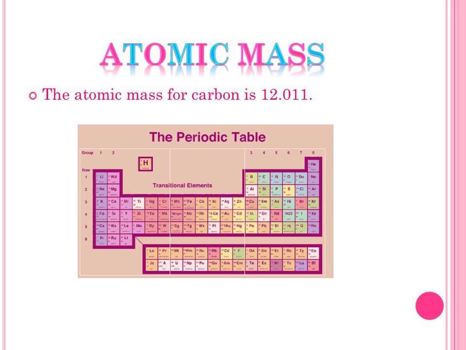 The atomic mass for carbon is 12.011.