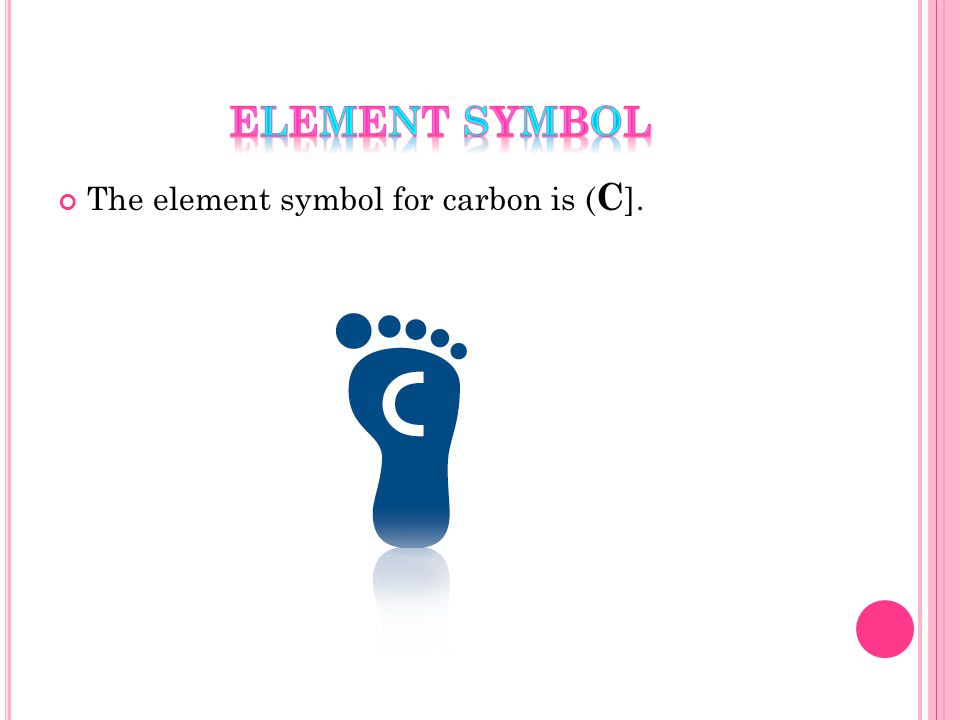 The element symbol for carbon is ( C ].
