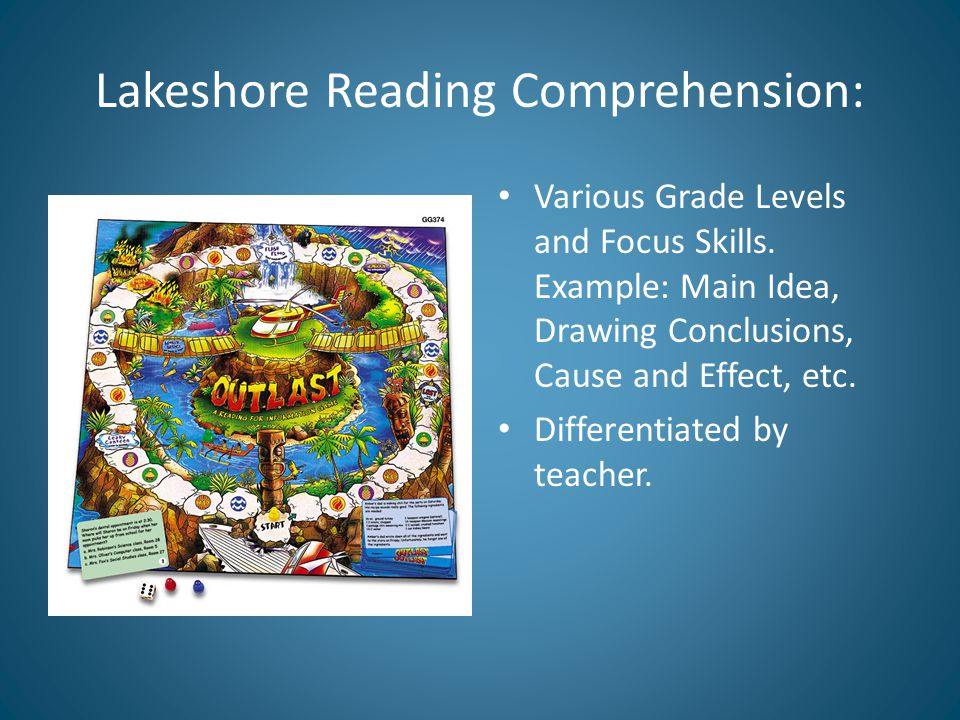 Lakeshore Reading Comprehension: Various Grade Levels and Focus Skills.