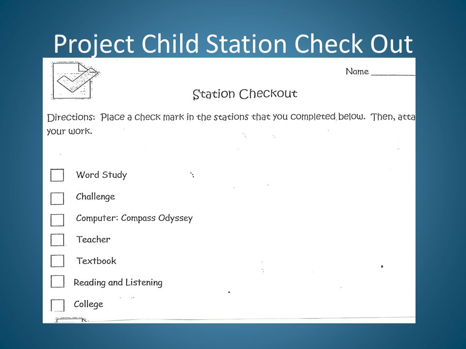 Project Child Station Check Out